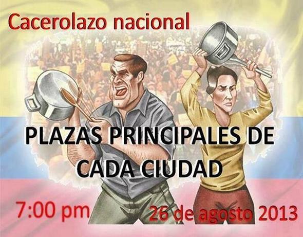 Cacerolazo nacional - Plazas principales de cada ciudad - 26 de agosto 2013