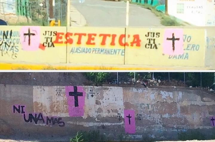 """""""En la ciudad se pueden visualizar muchas cruces rosas con negro y palabras de justicia para nuestras mujeres"""""""