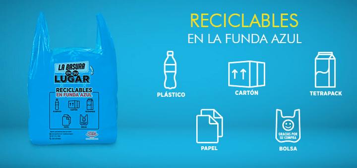 Supermaxi Ecudaor: Funda azul: Reciclables