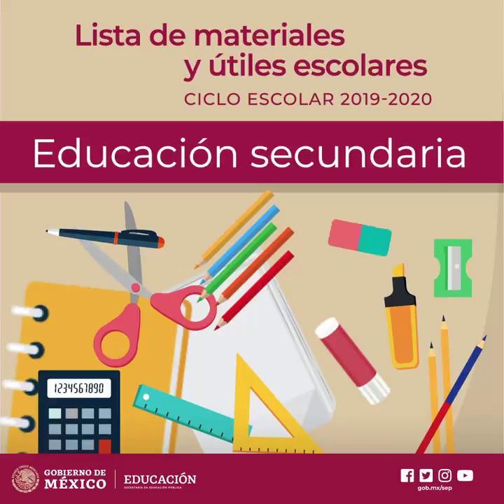 SEP México: Lista de útiles escolares 2019-2020 (Educación secundaria)