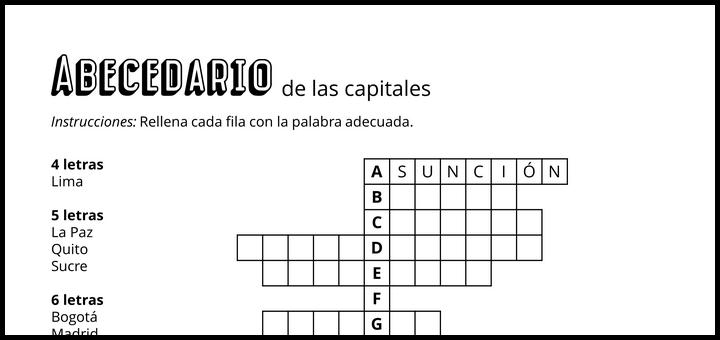 Abecedario de las capitales de los países hispanohablantes